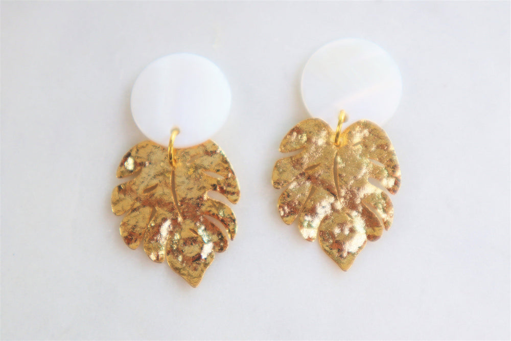 Golden Monstera earrings