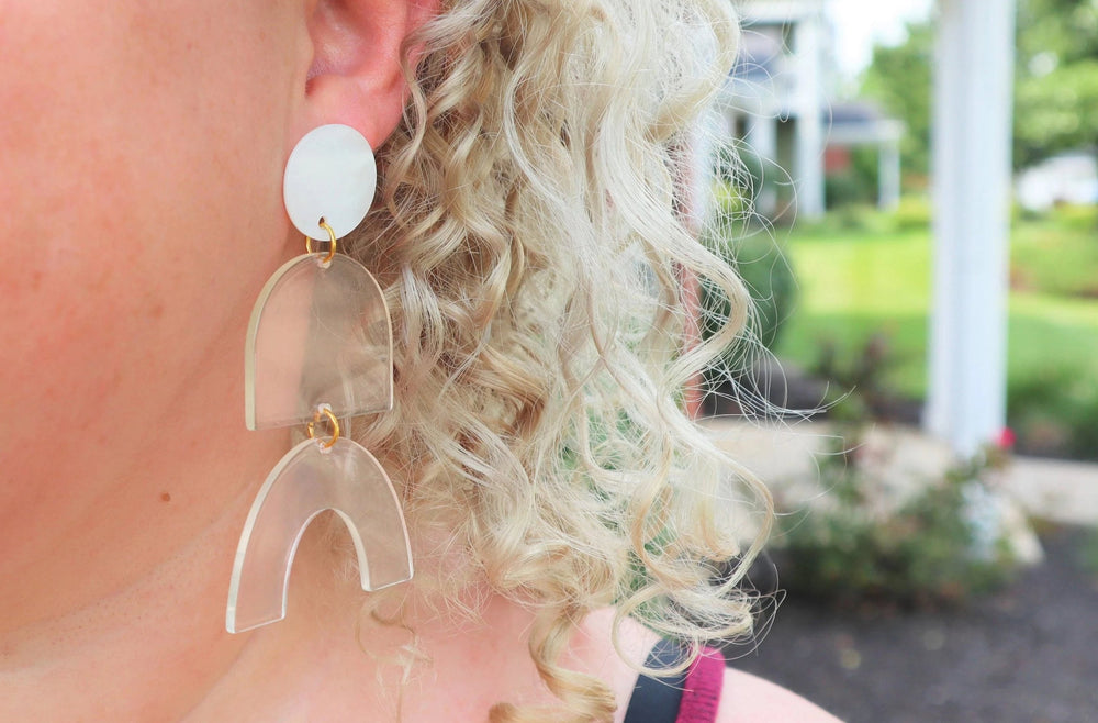 Clear Geometric statement Earrings
