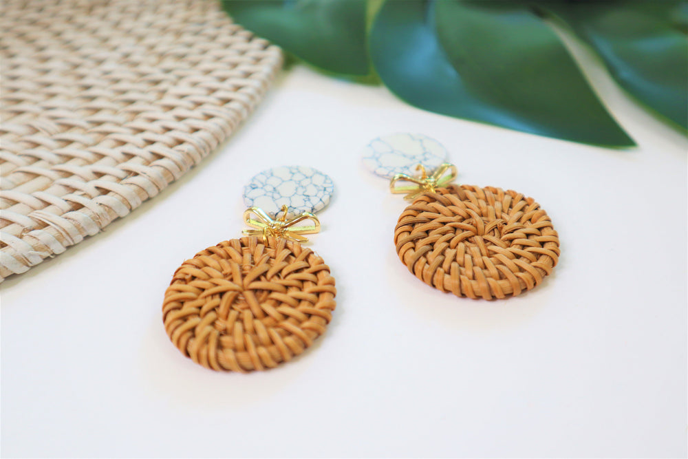 Rattan statement earrings