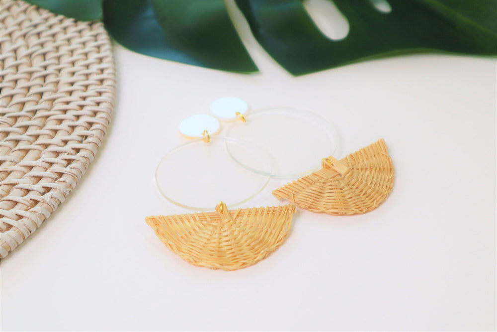 Fan rattan earrings