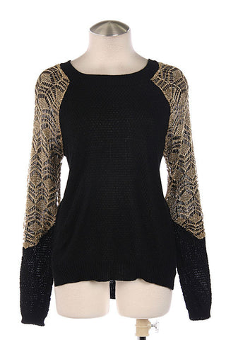 Black/Gold Contrast Sleeve Accent Sweater