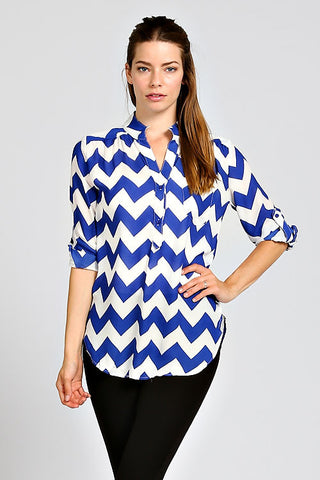 Blue Chevron Print Partial Button Tunic