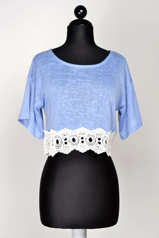 Crochet Bottom Blue Crop Top - Front