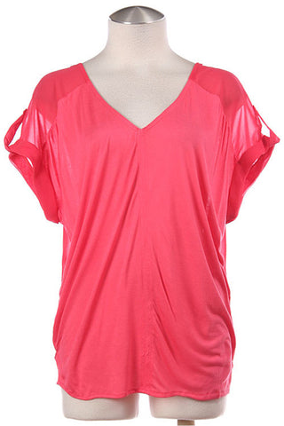 Coral V-Neck Flowy Top - Front
