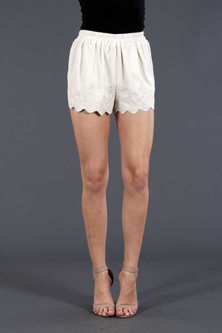 Scallop Hem Embroidered Shorts
