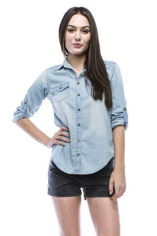 Chambray/Denim Button-Down Shirt Front