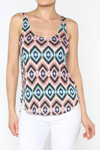 Aztec Diamond Print Top Front