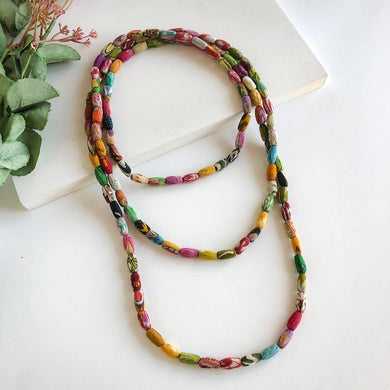kantha recycled sari long necklace
