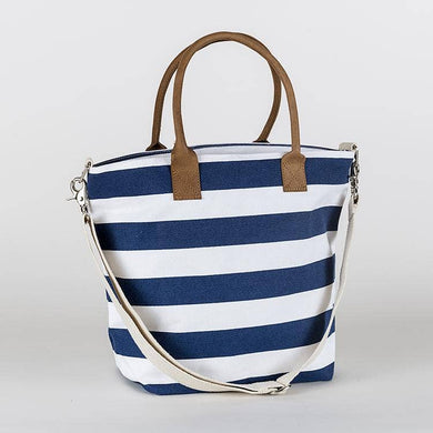 wide stripe canvas tote