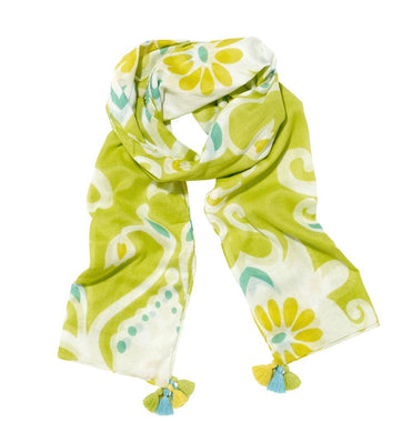 Ikat Damask in Green Scarf