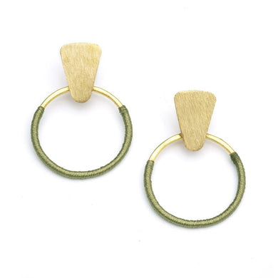 Olive threaded hoop earrings