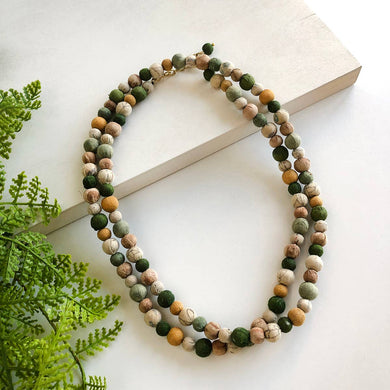 earth tones kantha bead necklace
