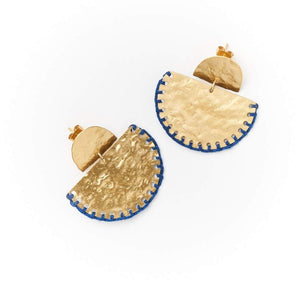 Gold with navy thread half moon earrings