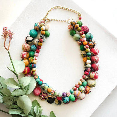 Three strand sari bead necklace