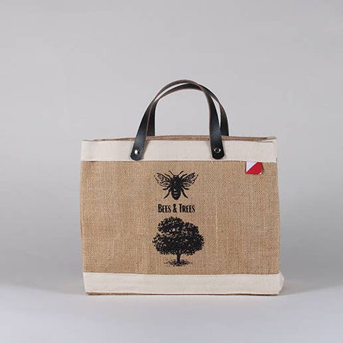 Jute and canvas small tote