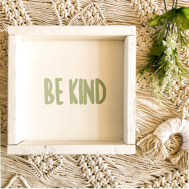 Be Kind Wooden Sign-Light Green