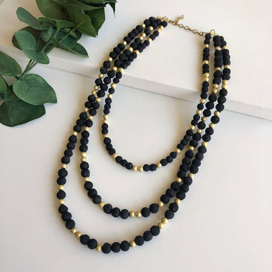 black and gold beaded necklace
