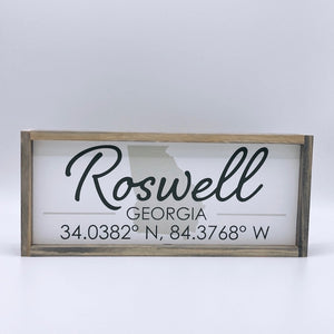 Roswell, GA wood sign