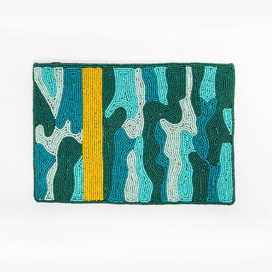 Teal Camo Beaded Clutch