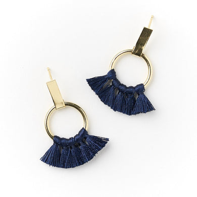gold and navy thread hoop earrings
