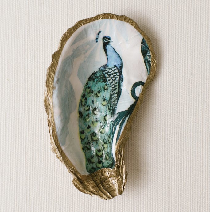 Blue Peacock Oyster Jewelry Dish