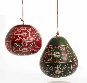 Floral Motif Gourd Ornaments-Set of 2