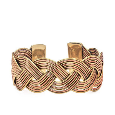 mixed metal rope cuff bracelet