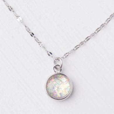 opal stone silver necklace