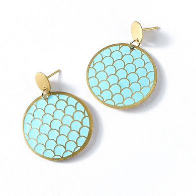 teal coin earring
