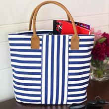 Load image into Gallery viewer, Navy Stripe Cabana Tote