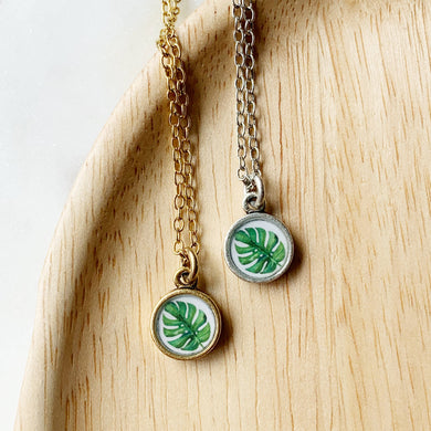 Monstera Palm with Gold Necklace