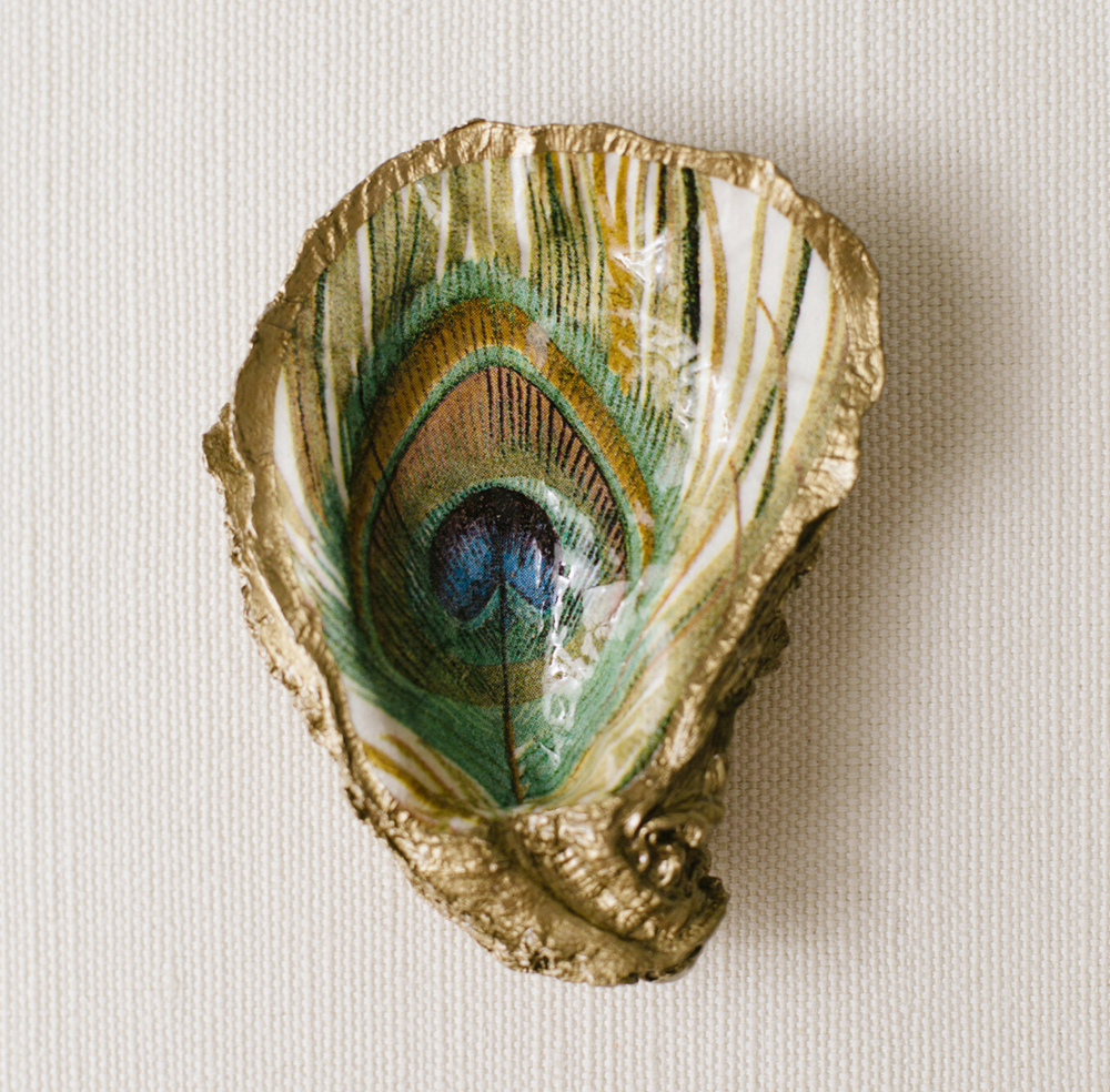 Peacock Feather Oyster Jewelry Dish