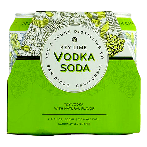 You & Yours Key Lime Vodka Soda, 4-pack (12oz.)