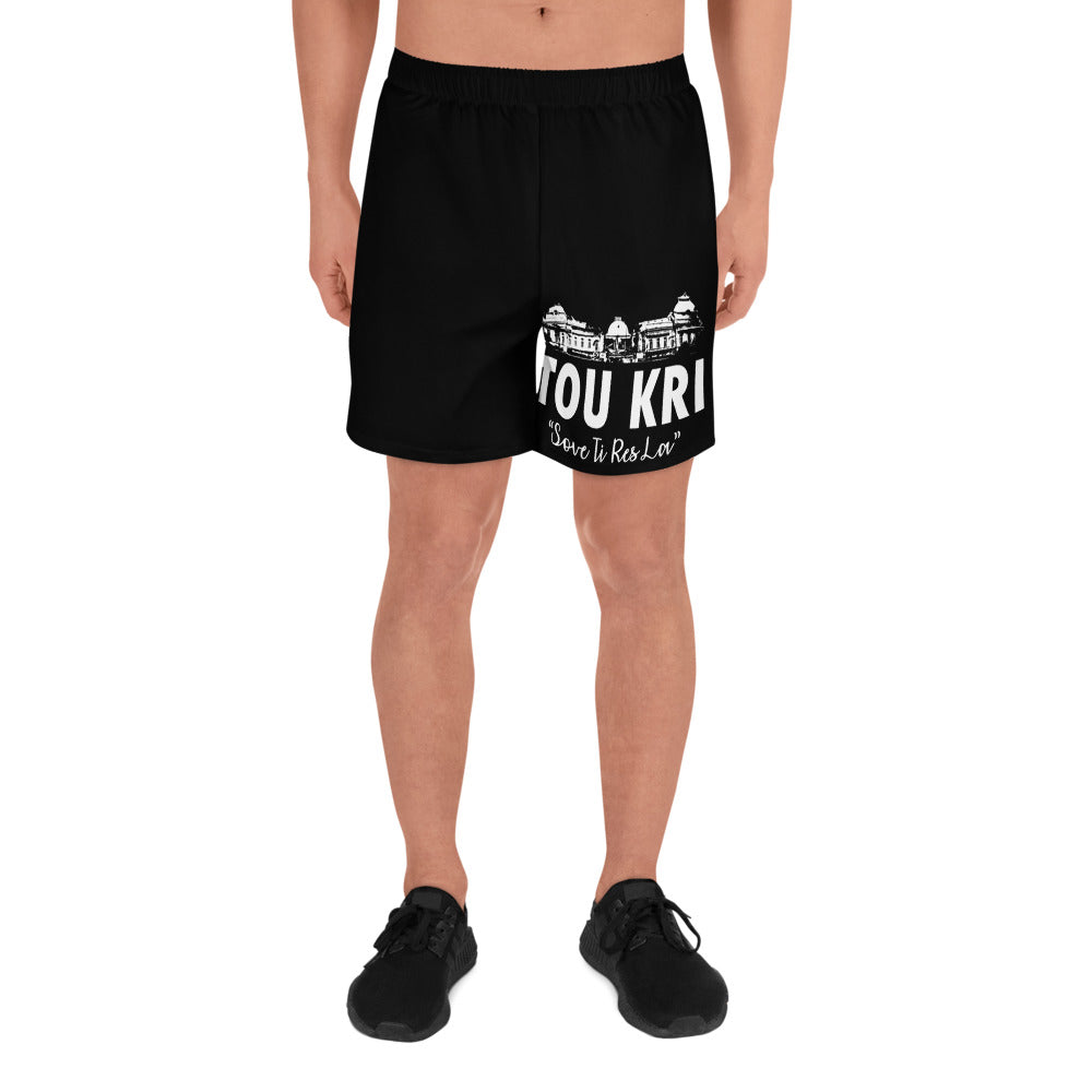 Black Tou Kri Men's Athletic Long Shorts