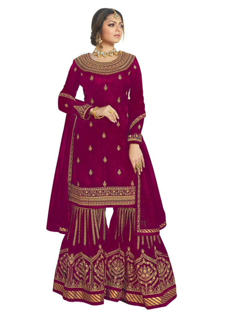 Latest Design Georgette Dress With Magenta Colour