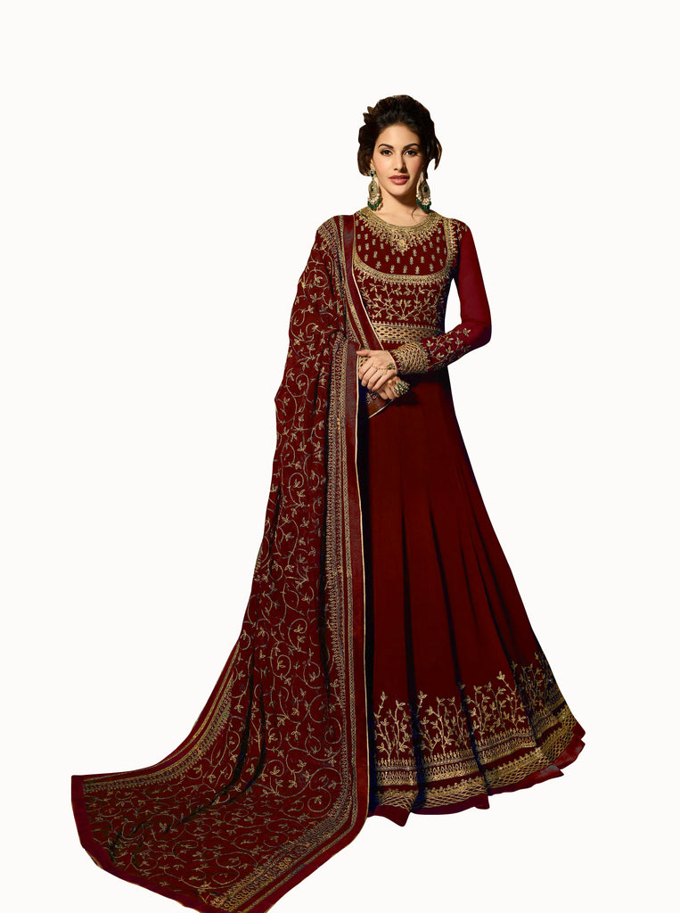 Latest Design Georgette Gown With Maroon Colour