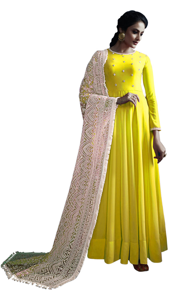 Latest Design Georgette Gown With Yellow Colour