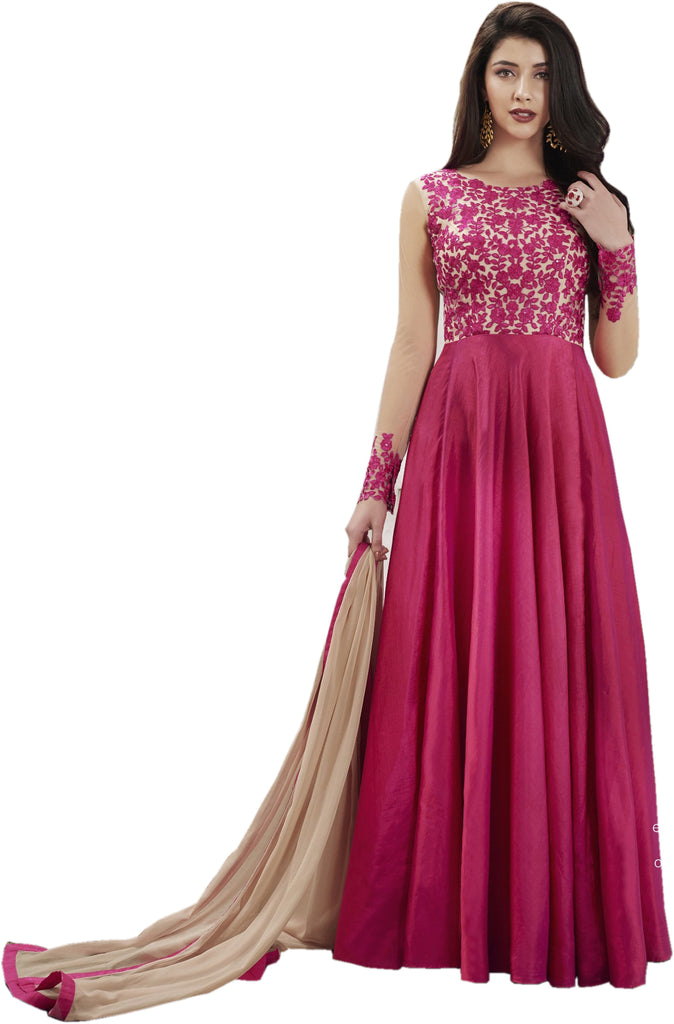 Latest Design Paper Silk Gown With Pink Colour
