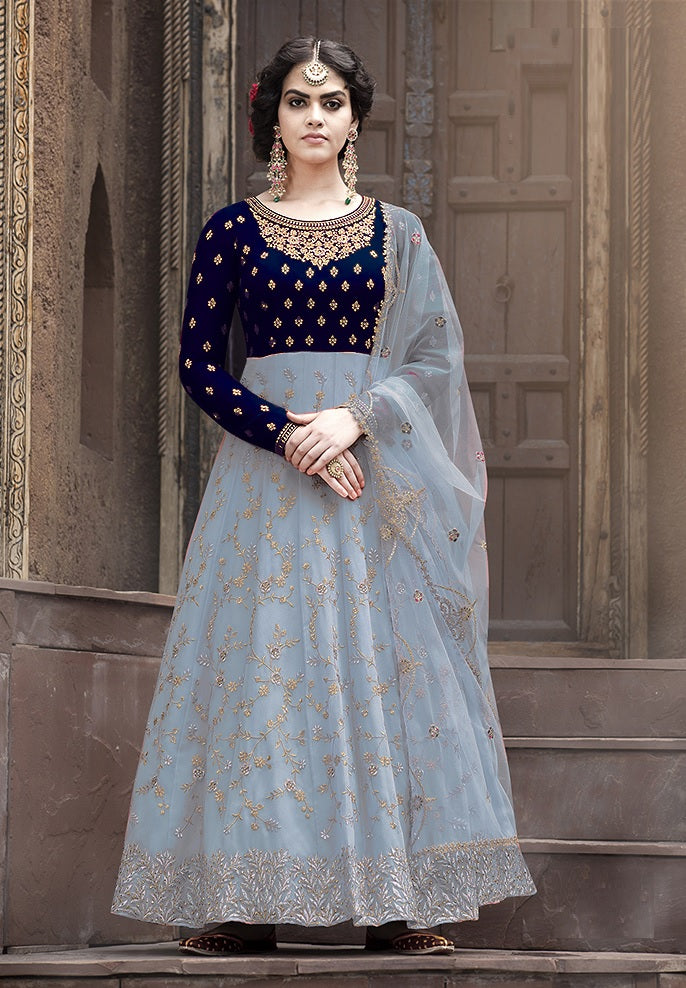 Latest Design Georgette Gown With Grey Colour