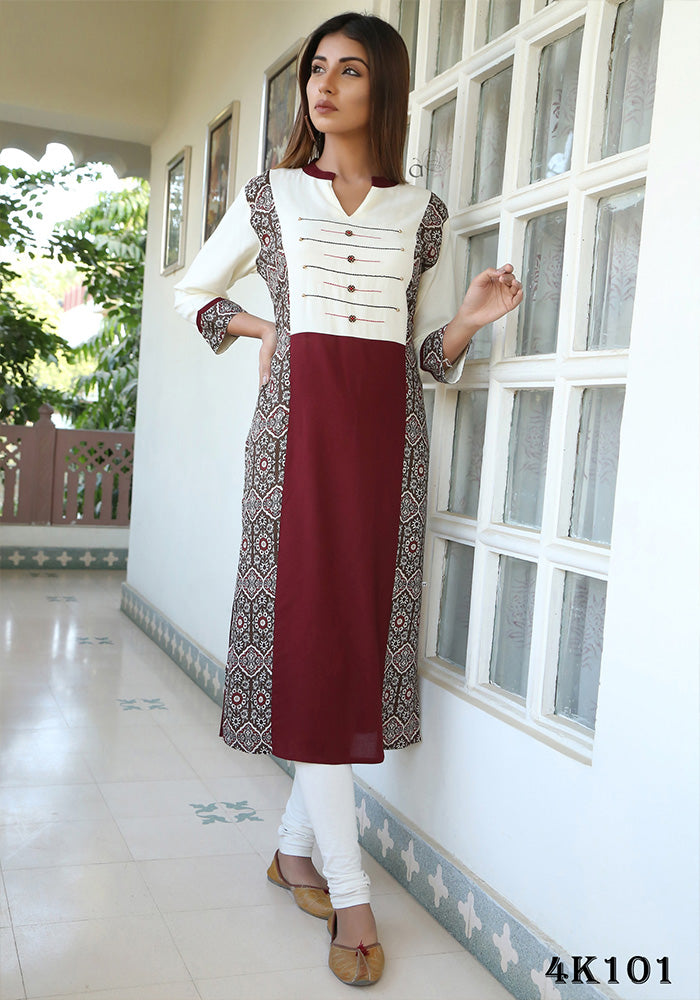 MAROON & OFFWHITE COLOR RAYON KURTI