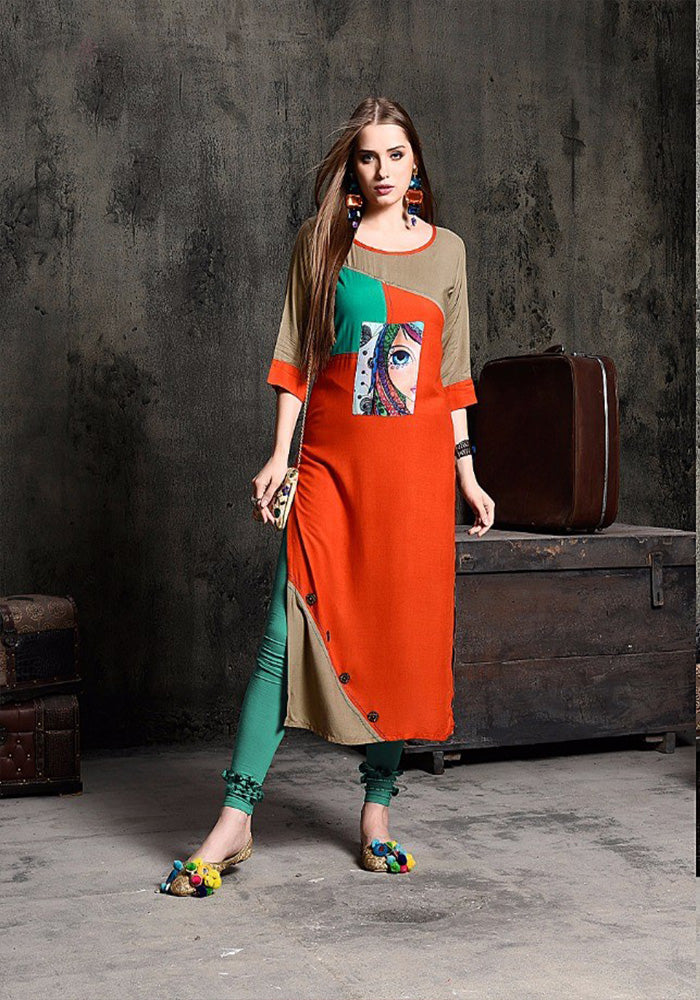 ORANGE & BEIGE COLOR RAYON KURTI