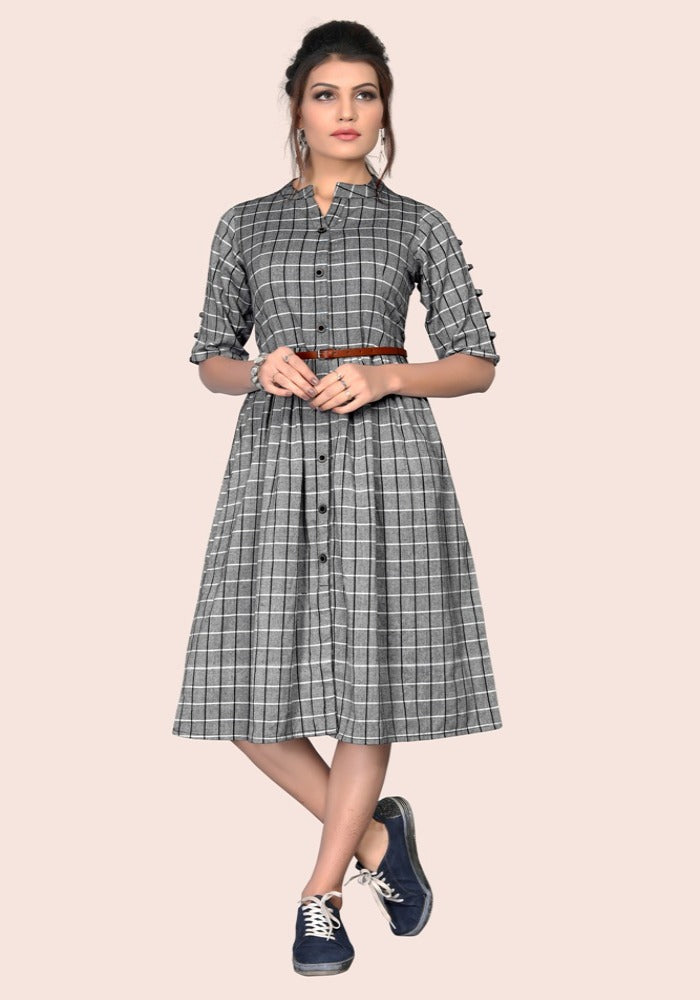 South Chex Cotton Gray Color Kurtis