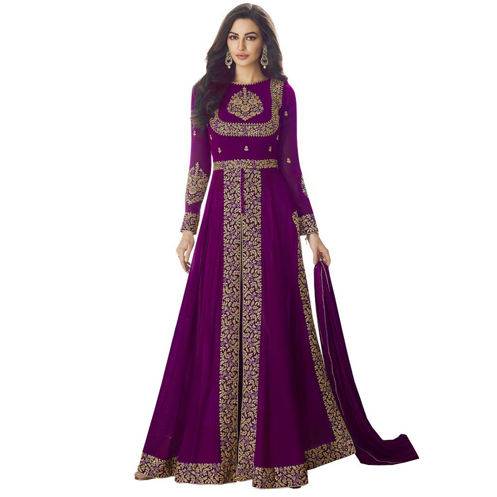 Latest Design Georgette Gown With Purple Colour