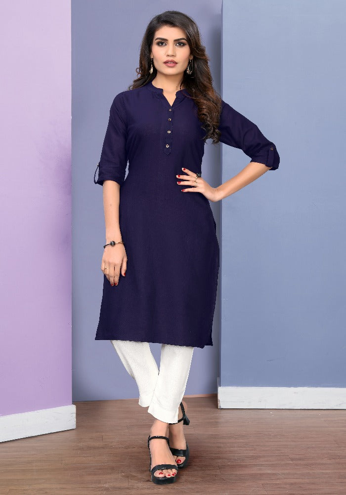 Pure Cotton Navy Blue Color Solid Kurti