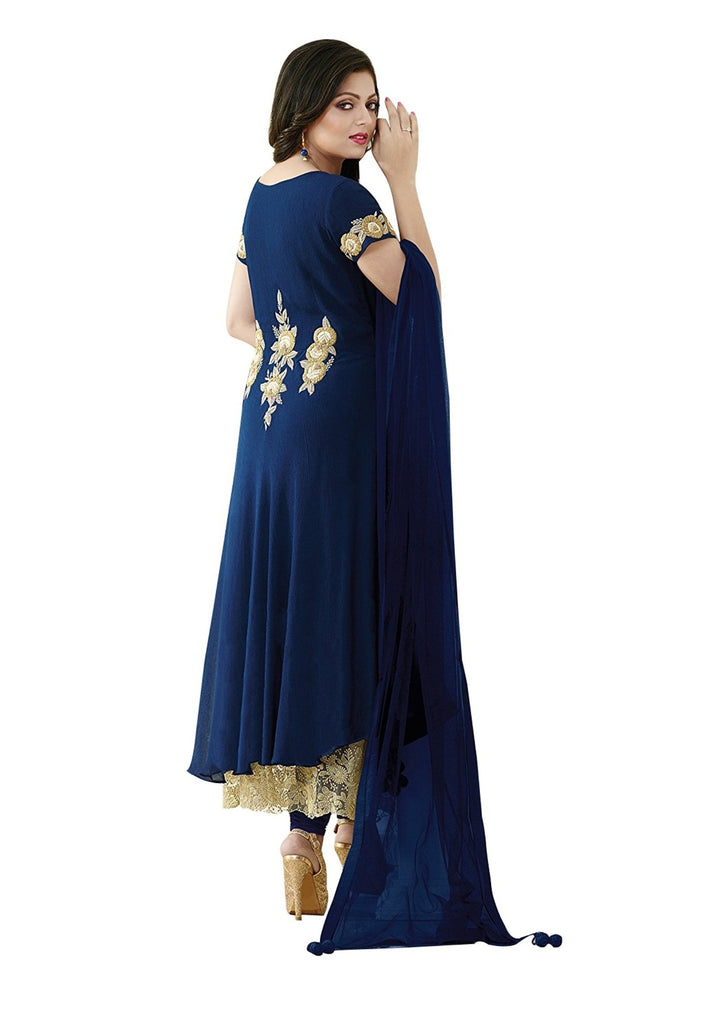 Latest Design Georgette Salwar-Suit  With Navy Blue Colour