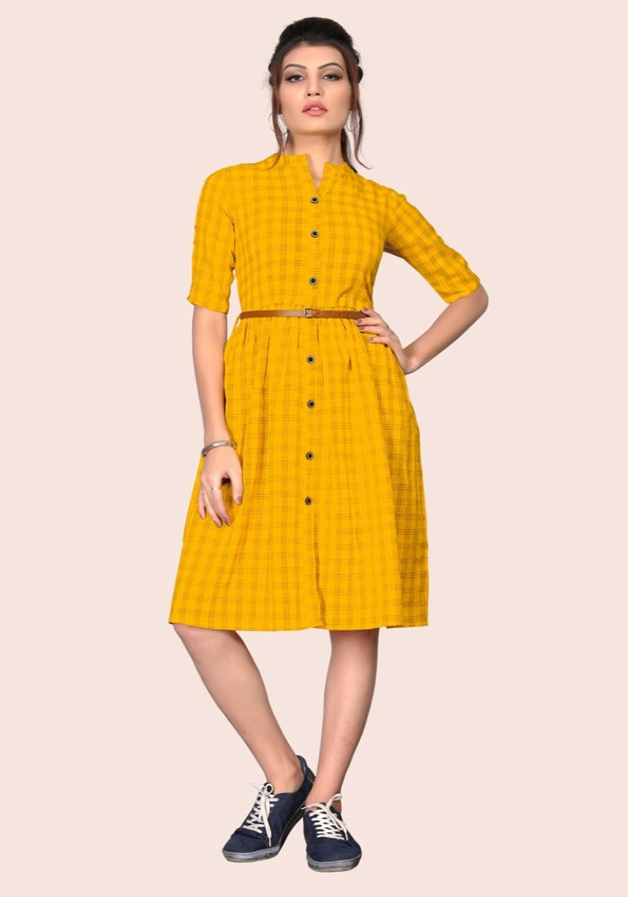 South Chex Cotton Yellow Color Kurtis