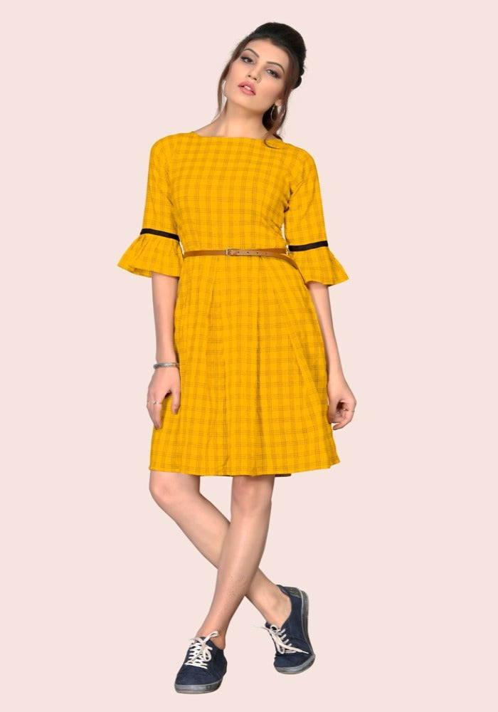 South Chex Cotton Yellow Color Bell Sleeve Kurtis