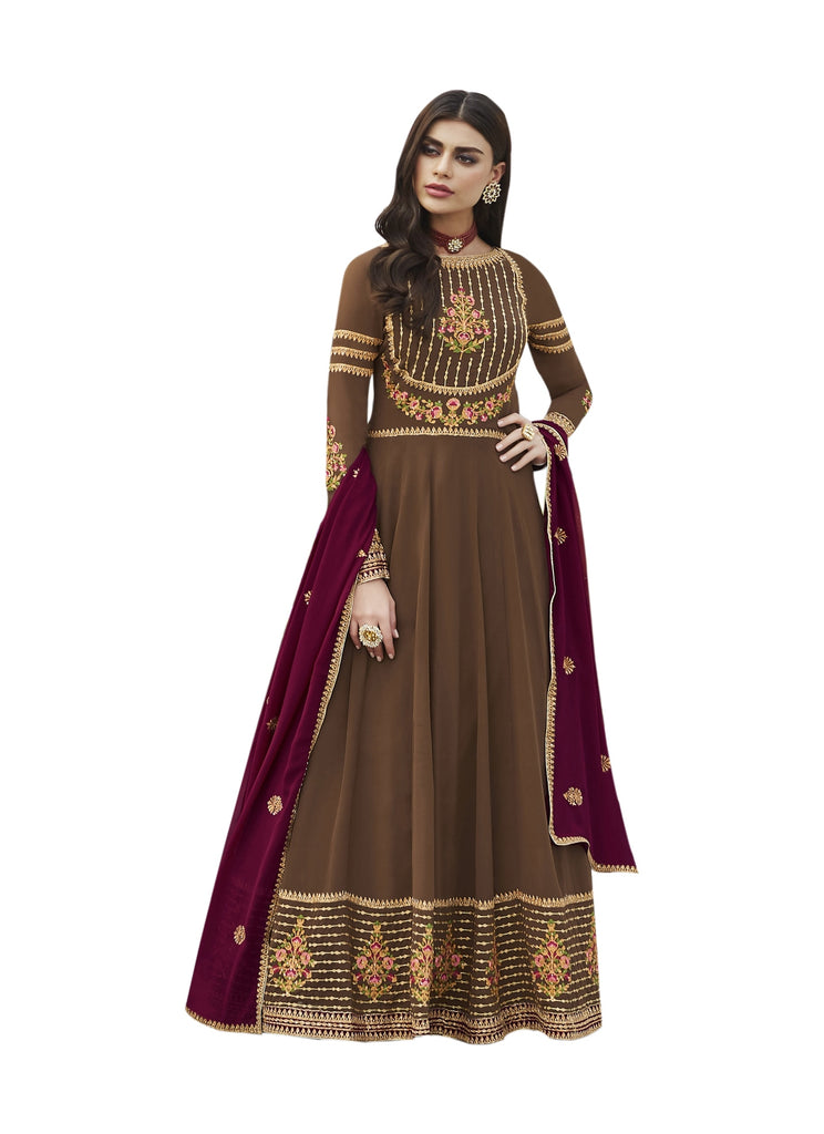 Latest Design Georgette Gown With Chocolate Colour