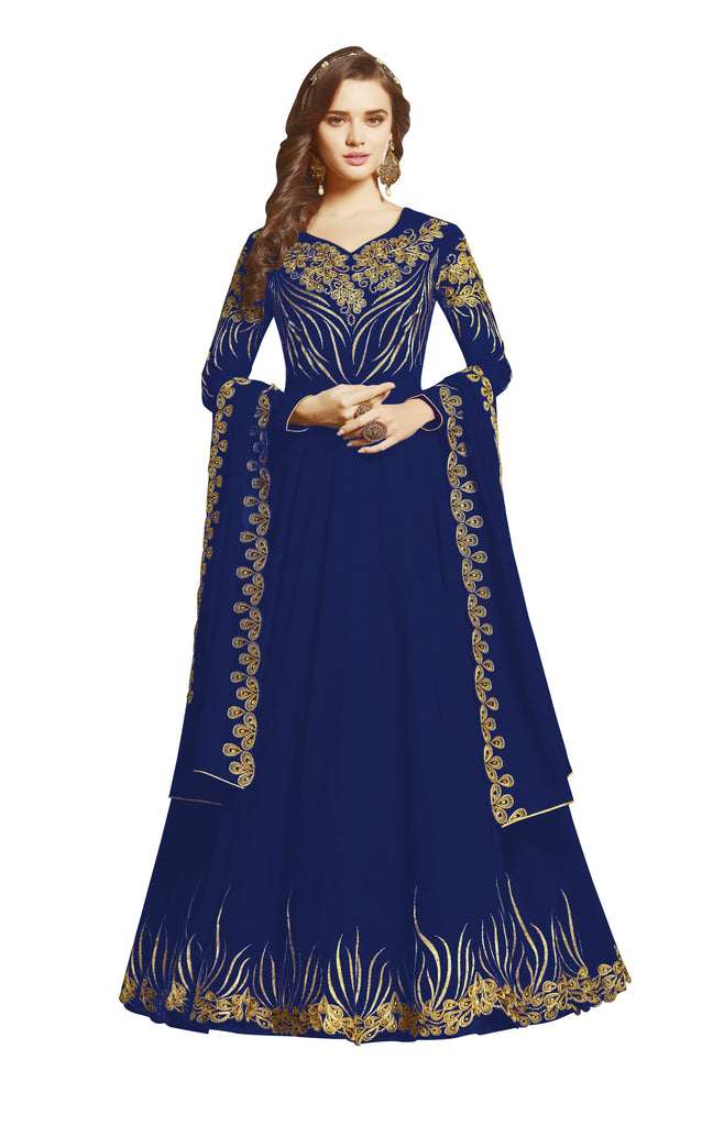 Latest Design Georgette Gown With Blue Colour