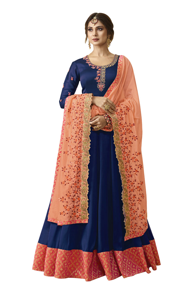 Latest Design Satin Georgette Gown With Blue Colour